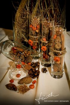 """Autumn / fall themed reception decorations. The groom at this wedding confided to me that he appreciated the theme, because he and his friends didn't feel out of place """"like we would if everything was pink...!"""""""