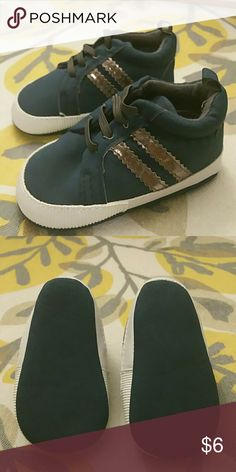 Baby shoes size 3 crib shoes Brand new without tags navy blue and silver crib shoes adorable for a little boy size 3 infant Shoes Baby & Walker