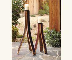wine barrel stave pillar candle holder