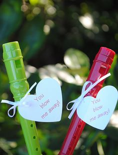 this blog as fun valentines ideas ~ this could be done with little bottles of bubbles... I think i know what we are going to make for Jaxons classmates