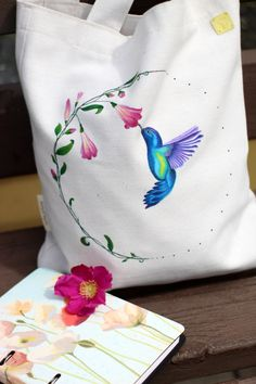 Bag with handpainted Hummingbird, Drawstring Backpack, Hand Painted, Backpacks, Bags, Handbags, Totes, Hummingbirds, Women's Backpack