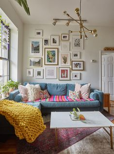 """A Brooklyn Apartment Is Full of Mood-Boosting Colors and Great Ideas - - Health and wellness expert Liz Moody calls her home a """"non-toxic, book and plant-filled Mexico City-inspired oasis. Living Room Trends, Living Room Interior, Home Interior, Living Spaces, Interior Design, Apartment Interior, Brooklyn Apartment, Colourful Living Room, Living Room Decor Unique"""