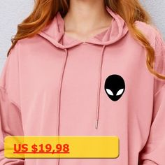 Fun Alien Hoodie Sweatshirt For Women Casual Kawaii Harajuku Hooded Pullovers Autumn Girls Long Sleeve Hoody Tops Female