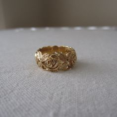 Vintage Wedding Band ArtCarved Floral Rose Pattern by Addy, Antique Wedding Bands, Wedding Rings Vintage, Diamond Wedding Rings, Vintage Rings, Gold Wedding, Vintage Art, Diamond Rings, Engagement Ring Photos, Vintage Engagement Rings