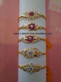 Light Weight Beautiful Gold Bracelets for Women with CZs and Rubies