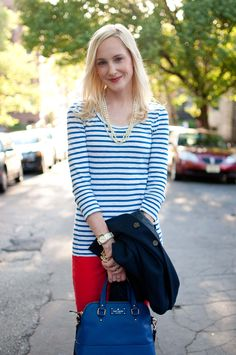 Going Nautical: Stripes, Blazers and Red Jeans - Kelly in the City