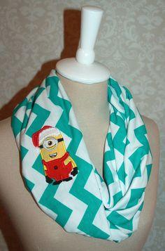 Christmas Santa Minion Green Chevron Infinity Scarf