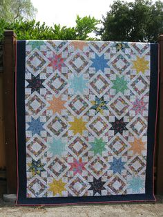 Wedding quilt - This is my biggest quilt to date.  Warning to other new quilters, something like this is a bear!  But I wanted to use messages from my wedding guest book. and this design could accommodate them