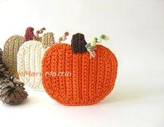 The most beautiful crocheted items: Crochet Coasters Pumpkin Autumn Decoration