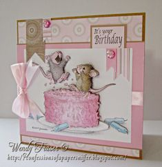 Confessions of a Papersniffer: House Mouse and Friends GDT Card - Birthdays