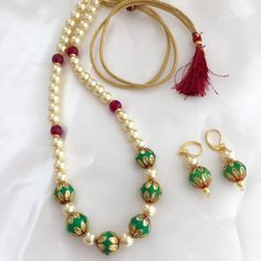 Green Meenakari Beads Necklace Pearl Necklace with by Alankaar