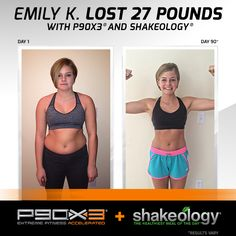 Emily lost 27 pounds with Shakeology and P90X3. How much can you lose? https://www.teambeachbody.com/checkout/-/bbcheckout/challengepack?TRACKING=SOCIAL_SHK_PI