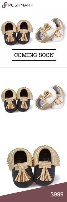 Black or White Gold Mocassins Brand New! Absolutely adorable Tassel soft shoes for infants. Available in Black/Gold and White/Gold. Sizes available listed below category.                                                                   ✨Bundle & Save✨No PayPal✨No Trades  Boutique items may or may not have tags but shipped New from supplier.      Size chart are approximate measurements. Please reference and compare to your child's before buying.  Please ask any questions you may have before…