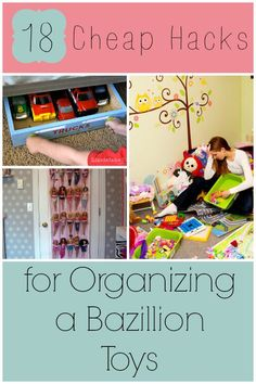 Are scattered toys driving you crazy? Need ideas for toy storage? Here are 18 cheap hacks for organizing a bazillion toys that will save your sanity fast! Kids Room Organization, Organization Hacks, Organizing Toys, Organization Station, Playroom Ideas, Toy Rooms, Kids Rooms, Toy Storage, Storage For Kids Toys