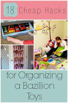 18 Cheap Hacks for Organizing a Bazillion Toys Ideas for Toy Storage via @howdoesshe