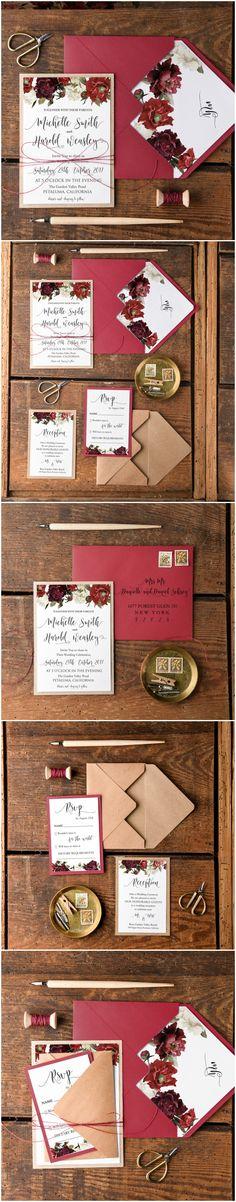 Burgundy & Eco Fall Wedding Invitation - floral calligraphy printing #fall #autumn #weddingideas #burgundy #eco #ecofriendly #flowers #floral