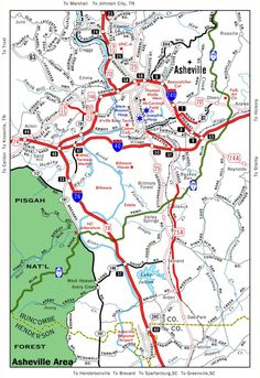 Travel Map of Asheville North Carolina Asheville Nc Map, Asheville North Carolina, Western North Carolina, North Carolina Homes, Travel Maps, Places To Travel, Places To Go, Lake Junaluska, Maggie Valley