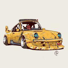 El retro, Fernando Correa - picture for you Car Art, Art Cars, Maserati, Lamborghini, Car Illustration, Illustrations, Cool Car Drawings, Volkswagen Transporter, Car Sketch