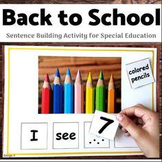 Back to School Activity - Building Sentences Autism Teaching Strategies, Parent Resources, Teaching Materials, Teaching Tools, Teacher Wish List, Sentence Building, 2nd Grade Writing, Back To School Activities, School Ideas