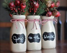 Rustic Christmas Decor - Rustic Christmas Decorations - Vase - Table Centerpiece - Holiday Decor This set of three painted vintage style milk bottles Christmas Table Centerpieces, Country Christmas Decorations, Rustic Christmas, Christmas Crafts, Holiday Decor, Christmas Glitter, Christmas Décor, Wedding Centerpieces, Fall Decor