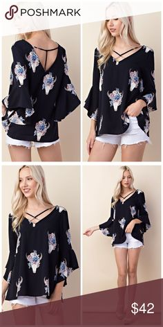 Floral longhorn print v-neck bell sleeves blouse. It's arrived! Beautiful cut in woven fabric 3qtr bell sleeves and strappy detail. Price is firm. Tops