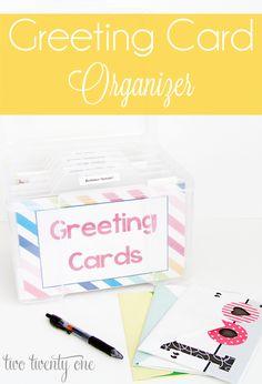 Greeting Card Organizer - Two Twenty One Scrapbook Organization, Craft Organization, Scrapbook Supplies, Scrapbook Cards, Organizing Crafts, Organization Station, Organising, Scrapbooking, Greeting Card Holder