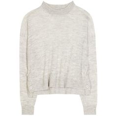 Acne Studios Ryssa Alpaca and Wool Cropped Sweater ($140) ❤ liked on Polyvore featuring tops, sweaters, jumpers, sweatshirts, grey, grey wool sweater, gray top, gray crop top, cropped tops and acne studios