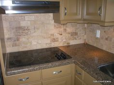 brick style travertine backsplash | ideas for the home | pinterest