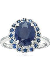 Sterling Silver Natural Indian Blue Sapphire and Diamond Classic Ring (0.08 cttw, H-I Color, I1-I2 Clarity), Size 7