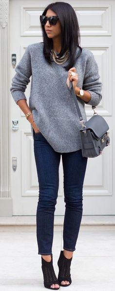 Grey Sweater + Denim                                                                             Source