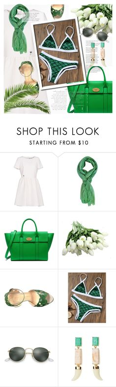 """""""Jungle Tea Sparkle"""" by magnificentwoman422 ❤ liked on Polyvore featuring Christian Dior, Mulberry, Charlotte Olympia and Ray-Ban"""
