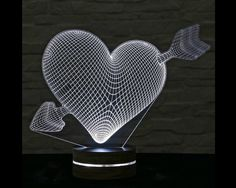 Heart Shape, Home Decor, Office Decor, 3D LED Lamp, Acrylic Lamp, Amazing Effect, Art of Light, Decorative Lamp, Artistic Lamp, Table Light by ArtisticLamps
