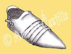 Escarpe: Pieza de la armadura que cubría el pie.