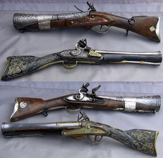 "Ottoman flintlock blunderbuss (smooth-bore gun with a funnel shaped muzzle).There are blunderbuss pistols, short and long muskets, some were swivel mounted. Blunderbuss is an anglicized version of the early Dutch Donderbuss or German Donner büchse (""thunder gun""). Blunderbusses were loaded with lead shot, not rocks or scrap. The flared muzzle does not cause the shot to disperse, but aids in the loading of shot into the barrel as when on a moving ship, horse or coach, 49 and 52 cm long, 19th…"