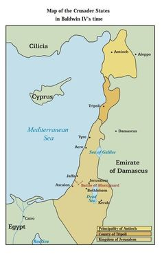 Map of the Crusader States in King Baldwin IV's time.