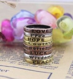 Vintage+Charms+Lettering+Wishing+Rings+Set+of+8+just+$1.59+Shipped!