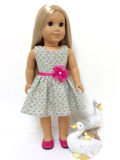 American Girl Doll Clothes Gray, White & Pink Print Dress