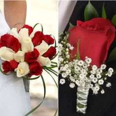 Bridal bouquet and groom's boutonniere with fresh and luxurious wedding roses!