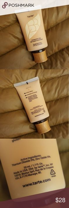 *SALE* TARTE Amazonian Clay BB Tinted Moisturizer BB Tinted Moisturizer Broad Spectrum SPF 20. Dermatologist tested, vegan friendly, formulated without parabens, mineral oil, phthalates, sodium lauryl sulfate, triclosan, and gluten! Chock-full of skinvigorating ingredients: Amazonian clay, apple & camellia extracts, chamomile, vitamins A, C & E, and sodium hyaluronate, which all work in perfect harmony to visibly hydrate, soften, brighten & protect. Used only three times, practically full…