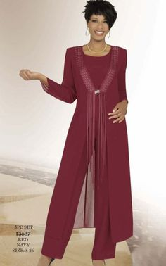 Elegant Pants Suit for Weddings Misty Lane 13537 by Ben Marc Formal Pant Suit with Long Jacket image Mother Of The Bride Suits, Mother Of Bride Outfits, Mothers Dresses, Bride Dresses, Lace Dresses, Formal Pant Suits, Trouser Suits, Trousers, Wedding Pants