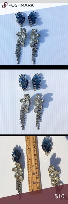 Vintage Clip On Earrings Silver and Blue Clip Ons, 2 for the price of $9! Jewelry Earrings
