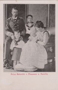 Prince Heinrich of Prussia (1862-1929) and Princess Irene of Hesse (1866-1953) with their three sons: Prince Waldemar (1889-1945), Prince Sigismund (1896-1978) and Prince Henry (1900-1904) in 1900.