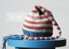 Newborn Knit Hat Elf Nightcap Baby with Tassel Red by yippyyarns, $30.00 newborn photography prop