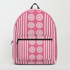 Geometric Pretty Pink & White Vertical Stripes and Circles Backpack by denidesigns Backpacks For Sale, D Craft, Vertical Stripes, One Size Fits All, Pretty In Pink, Pink White, Laptop, Handle, Construction