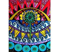 16 x 20 Canvas - Eye Sunrise anatomie oorspronkelijke schilderij surrealistisch Folk Art - Ocean zon golven spirituele Sacred Geometry bloem van het leven door HeatherGallerArt op Etsy https://www.etsy.com/nl/listing/465635050/16-x-20-canvas-eye-sunrise-anatomie