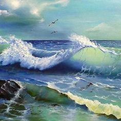 Ocean waves painting is available in 5 different sizes. No Wave, Ocean Scenes, Beach Scenes, Landscape Art, Landscape Paintings, Water Art, Sea Art, Seascape Paintings, Ocean Waves