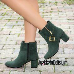 Akad Süet Kısa Topuklu Yeşil Bot #booties #boots #green