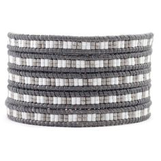 Chan Luu - White Mix Bead Wrap Bracelet on Natural Grey Leather, $195.00 (http://www.chanluu.com/mens-wrap-bracelets/white-mix-bead-wrap-bracelet-on-natural-grey-leather/)
