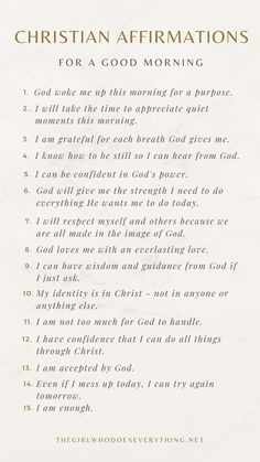 Christian Affirmations, Affirmations For Women, Positive Affirmations Quotes, Self Love Affirmations, Morning Affirmations, Words Of Affirmation, Positive Quotes, Affirmations For Success, Positive Mind