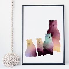 Bear family watercolor wall art print poster - unframed. I am a Canadian based artist and all artwork is done by me in my studio. This is an UNFRAMED archival high quality print of my original illustration. It is printed on Moab 100% cotton archival fine art heavy paper. Your print will be signed and dated in the back and carefully packaged with sturdy backings and sleeves. Larger prints are shipped rolled in a mailing tube to minimize the risk of damage. NOTE: Depending on your monitor...